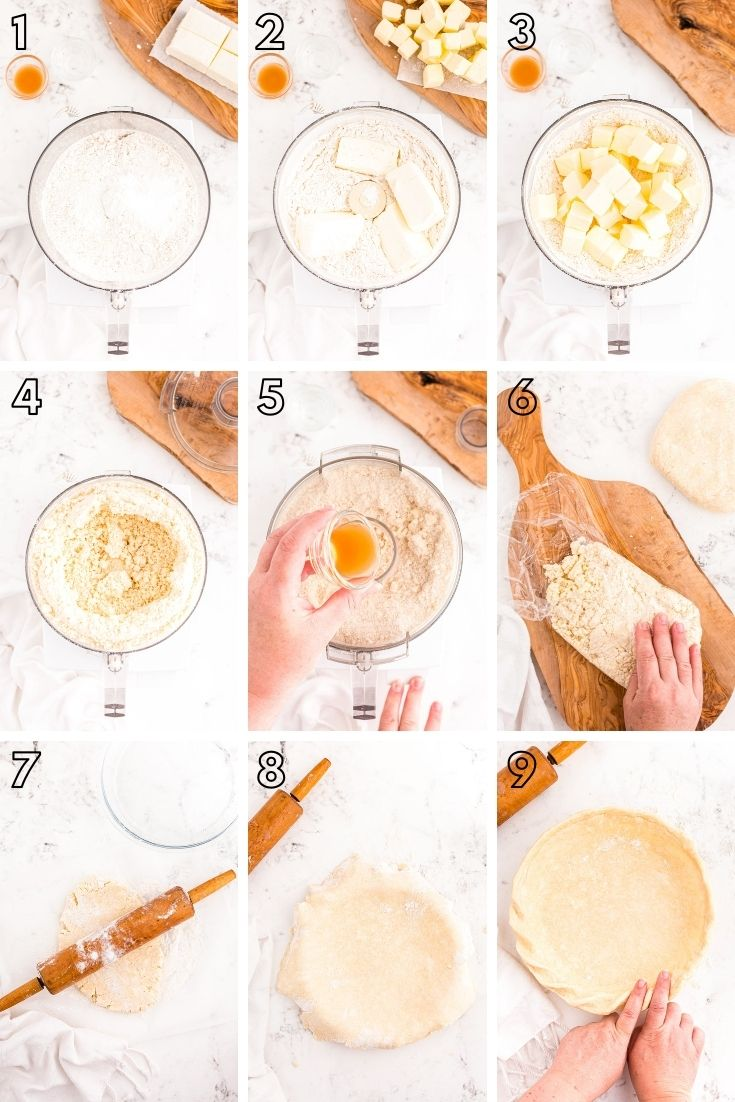 step-by-step photo collage showing how to make cream cheese pie crust.