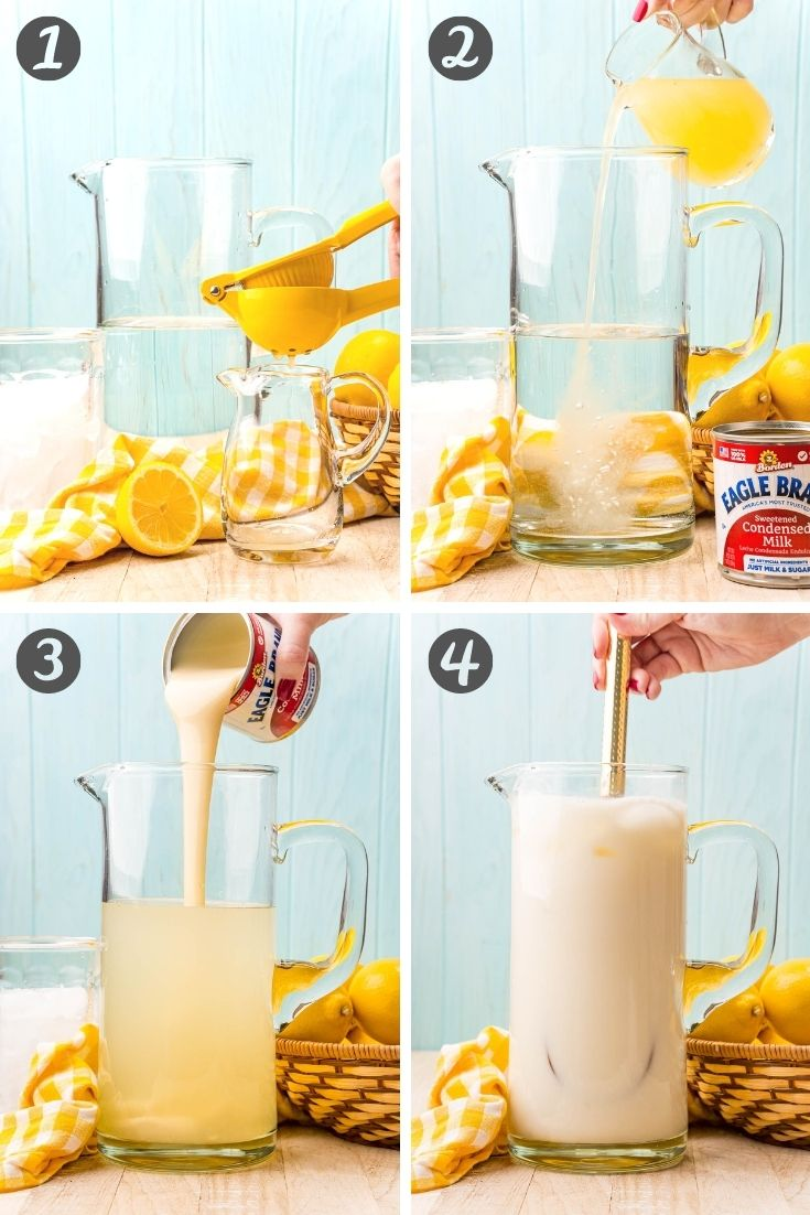 Step-by-step photo collage showing how to make creamy lemonade.