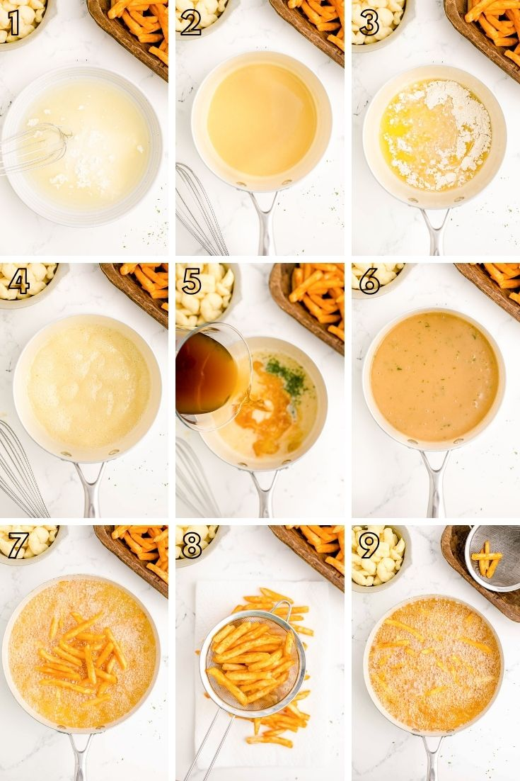 Step-by-step photo collage showing how to make poutine.