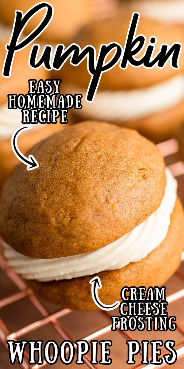 Pumpkin Whoopie Pies with cream cheese filling are made with easy ingredients to deliver your favorite fall flavors in a hand-held treat! via @sugarandsoulco