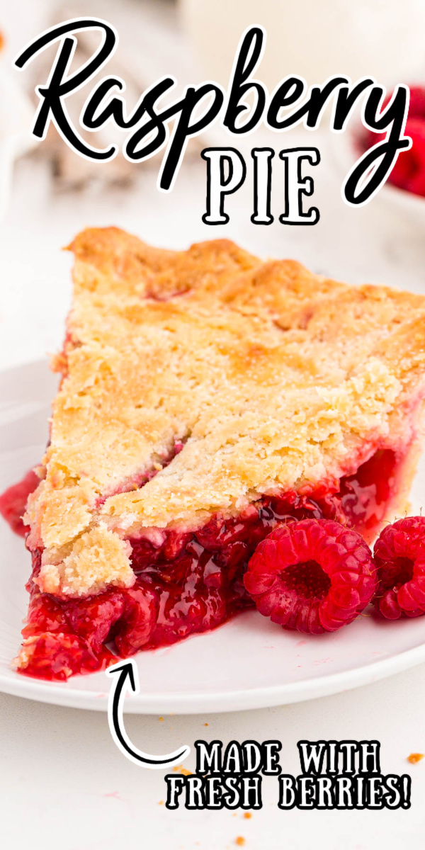 This Raspberry Pie is overflowing with fresh raspberries that have been tossed in sugar to create an incredibly sweet yet tart filling! This delicious homemade pie comes out of the oven after just 40 minutes of baking! via @sugarandsoulco