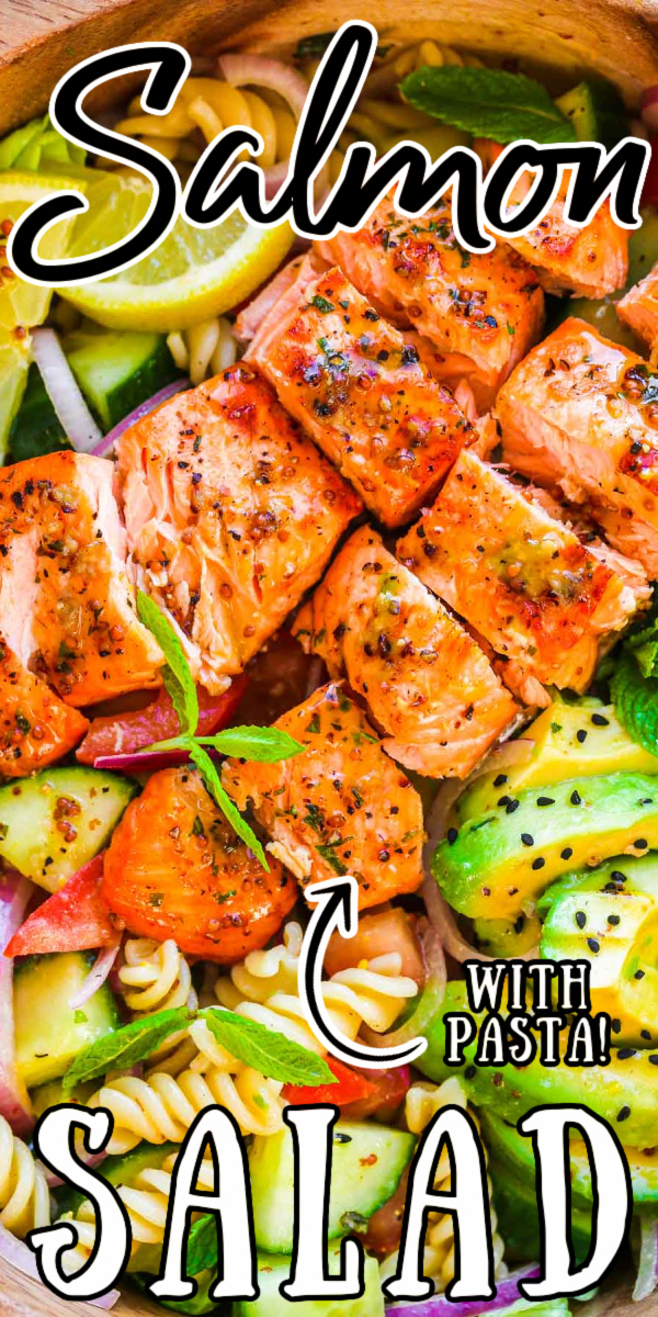Salmon Pasta Salad is tossed in a tangy, slightly sweet homemade lemon mustard dressing and loaded with fresh veggies for a wholesome meal! via @sugarandsoulco