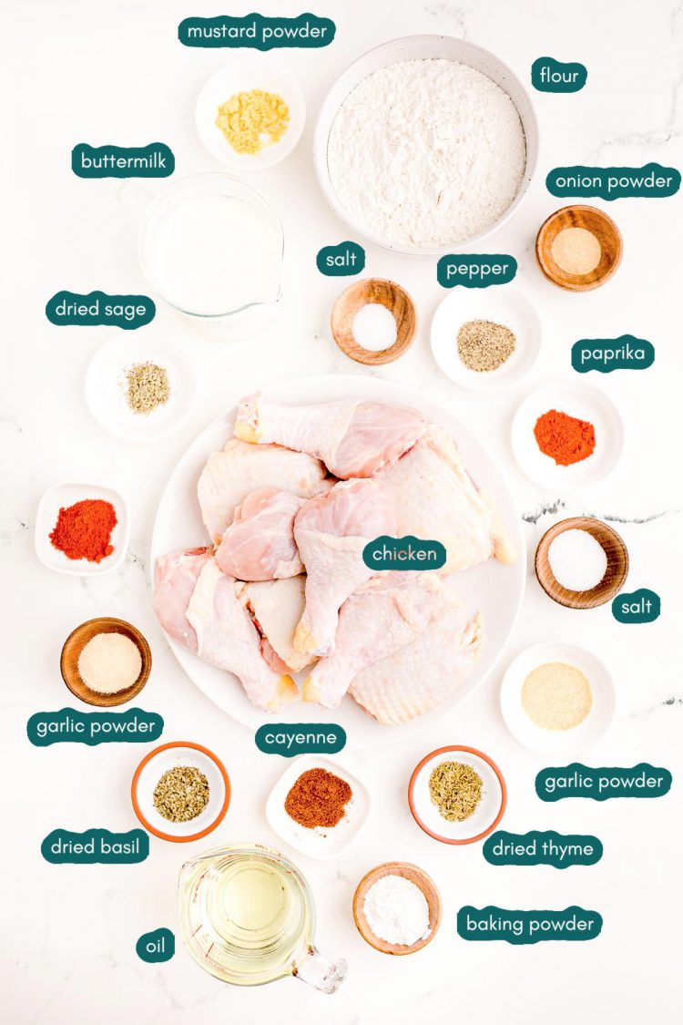 Overhead photos of ingredients prepped to make buttermilk fried chicken on a marble surface.