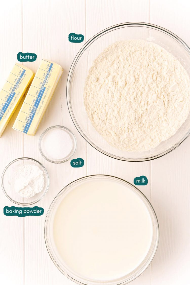 Overhead photo of ingredients prepped to make drop biscuits.