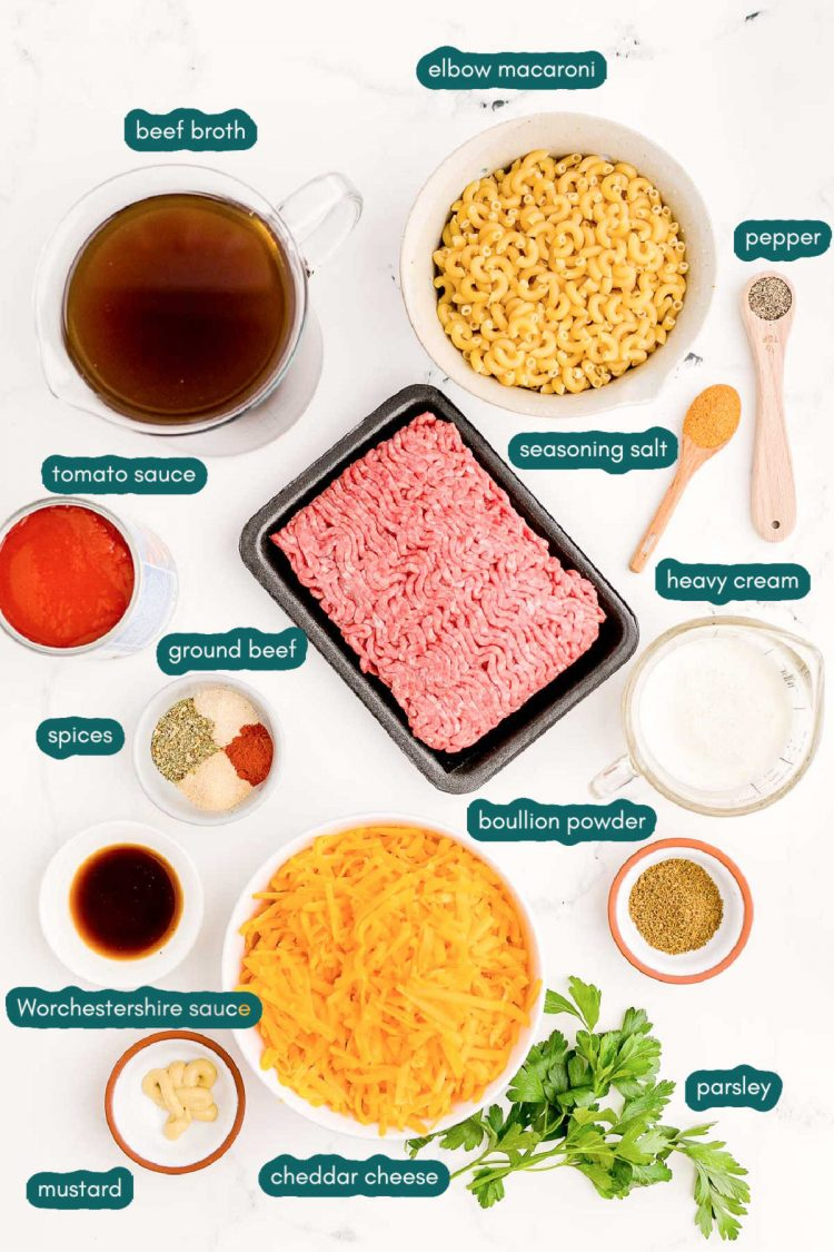 Photo of ingredients to make homemade hamburger helper prepped on a white counter.