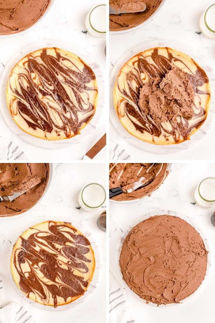 Step-by-step photo collage showing how to assemble a marble layer cake.