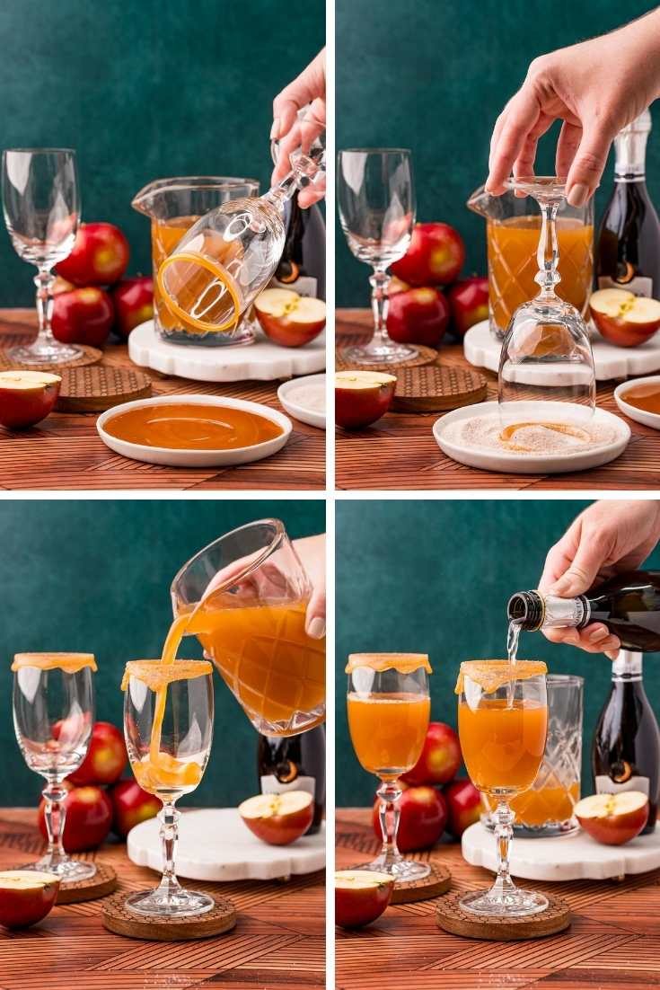 Step-by-step photo collage showing how to make apple cider mimosas.
