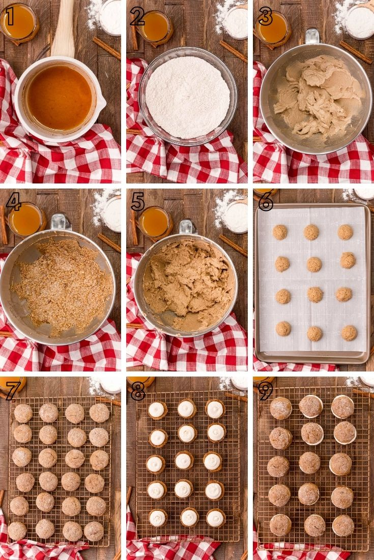 Step-by-step photo collage showing how to make apple cider whoopie pies.