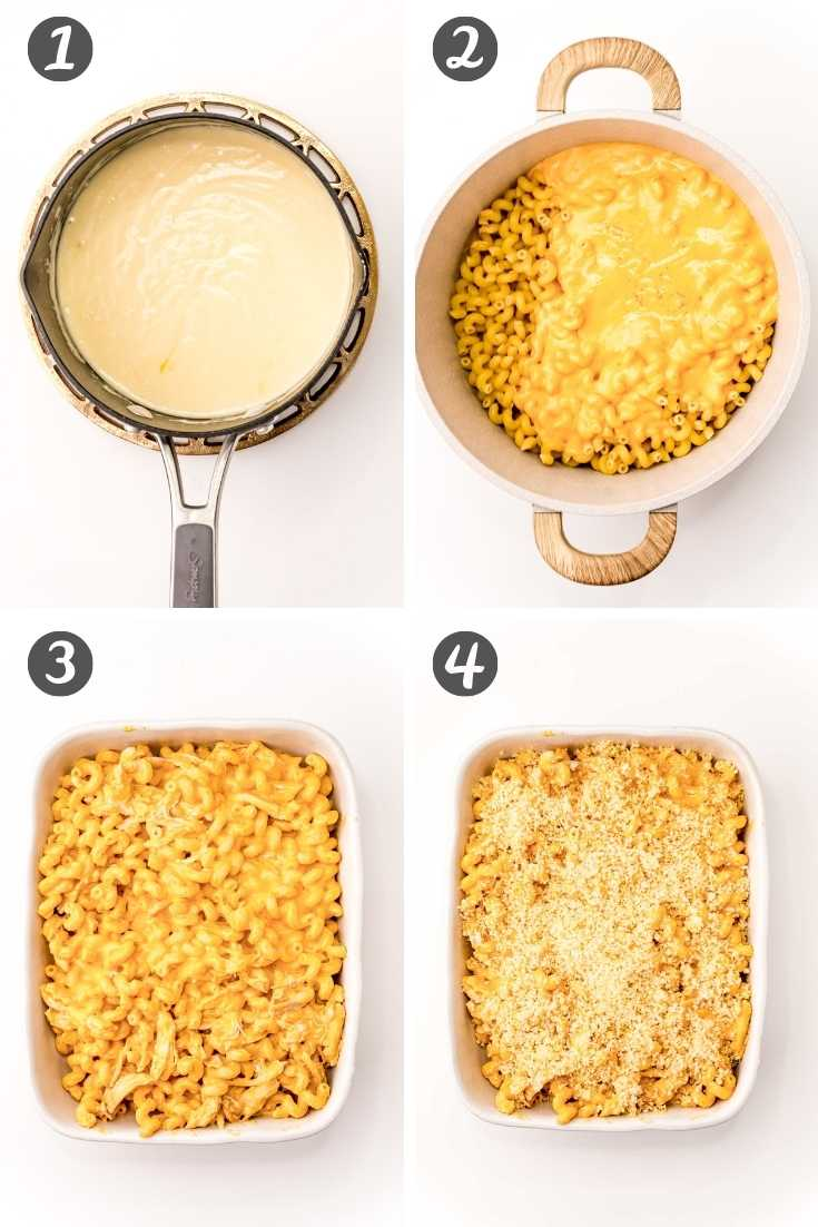 Step-by-step photo collage showing how to make buffalo chicken mac and cheese.