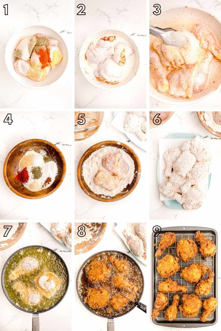 Step-by-step photo collage showing how to make buttermilk fried chicken.