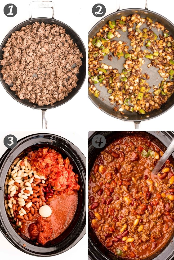 Step-by-step photo collage showing how to make chili in a slow cooker.
