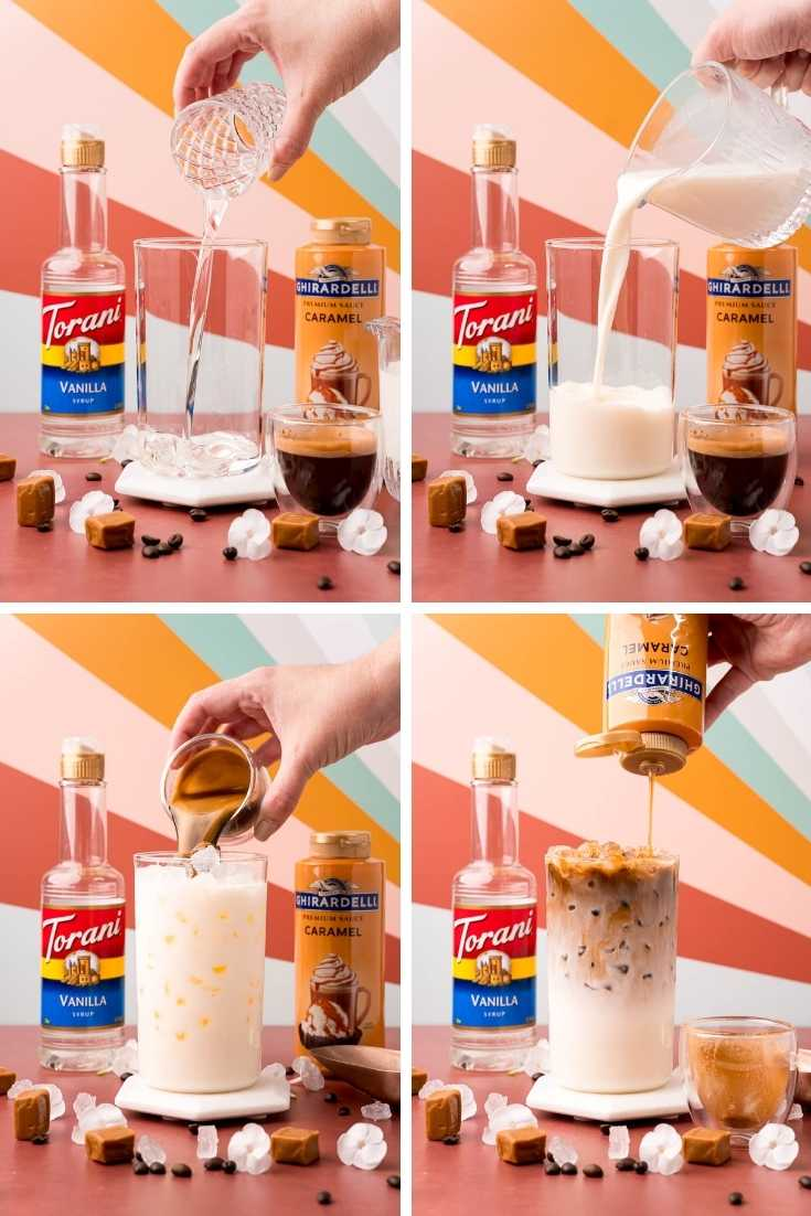 Photo collage showing step by step photos for how to make an iced caramel macchiato at home.