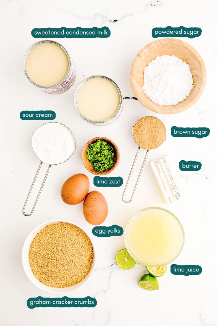 Overhead photo of ingredients prepped to make key lime pie.