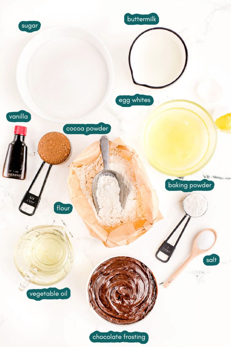 Overhead photo of ingredients prepped on a marble counter to make marble cake.