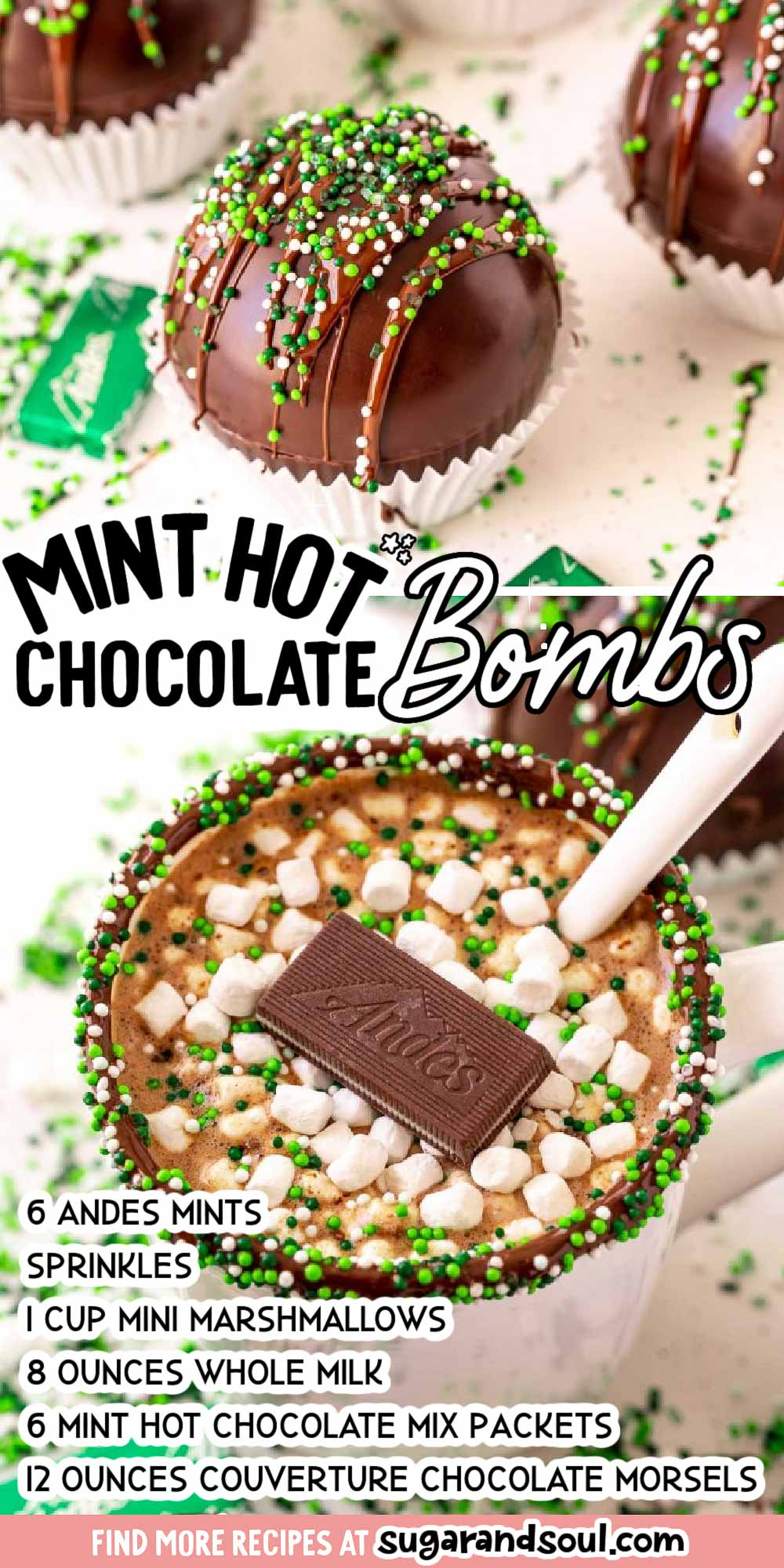 Mint Hot Chocolate Bombs are a fun way to fill your favorite mug with rich, creamy hot cocoa and a sweet hint of mint that everyone will love! via @sugarandsoulco