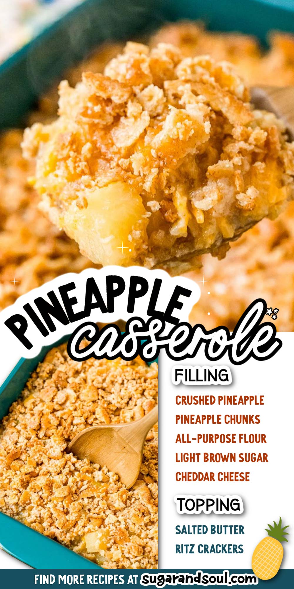Pineapple Casserole is a salty-sweet side dish that's popular in the South and always a hit at pot lucks. It's made with pineapple, cheddar cheese, salty crackers, and a few other ingredients and takes just 5 minutes to prepare! via @sugarandsoulco