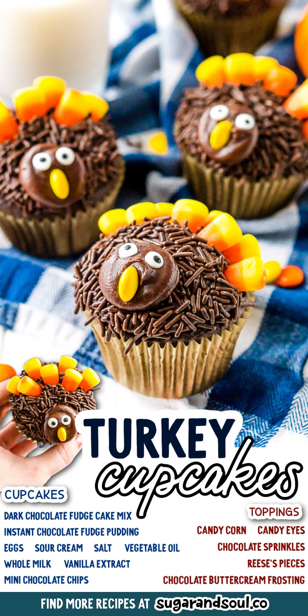 These Turkey Cupcakes are an easy-to-make treat for the kids and a fun way to celebrate the Thanksgiving season! via @sugarandsoulco