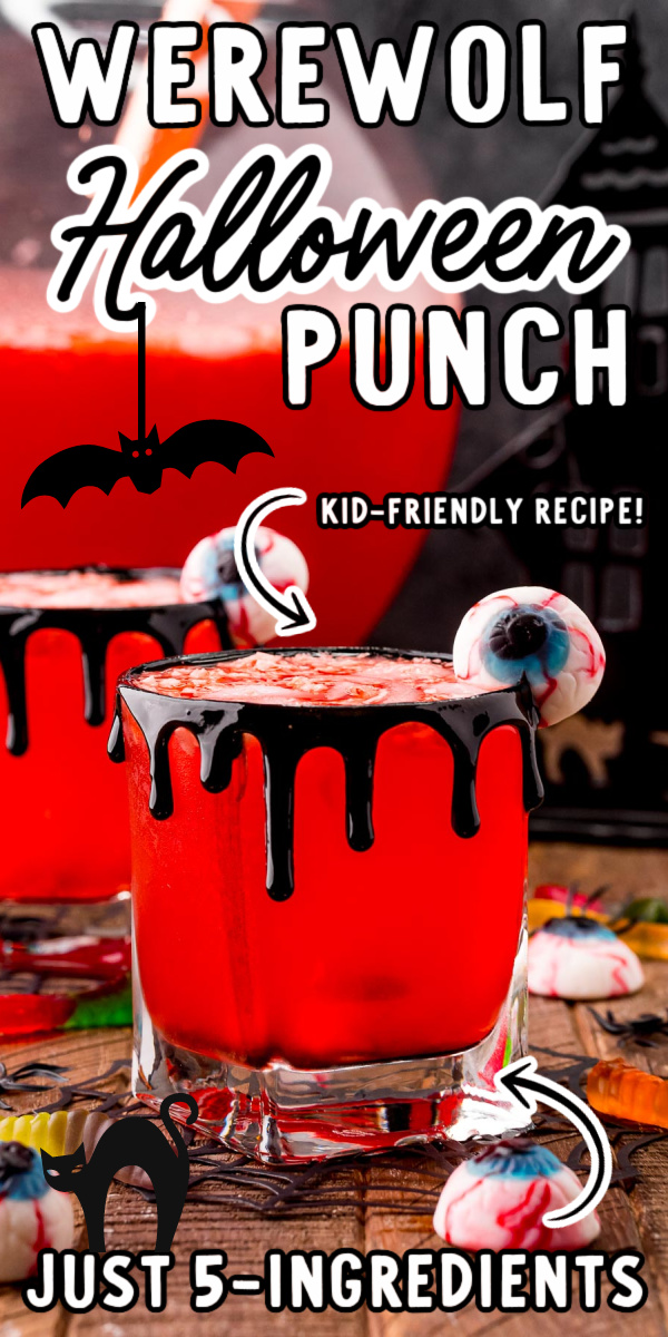 This fun Halloween Party Punch is an easy family-friendly recipe made with just a handful of ingredients in just 5 minutes! This makes a huge batch so it's perfect for Halloween Parties! via @sugarandsoulco