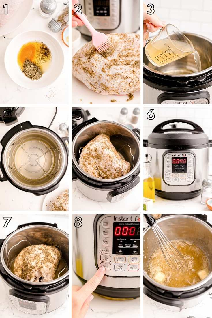 Step-by-step photo collage showing how to make turkey breast in the instant pot.