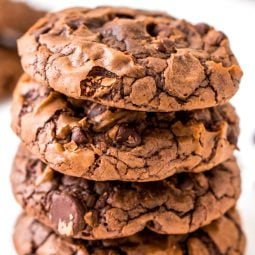 These Brownie Cookies are made from an adapted brownie box mix and are loaded with chocolate chips! They have a crisp outer edge and chewy fudge center just like a classic brownie!
